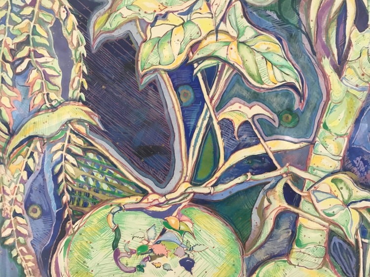 Greenery, by Gail Kolflat, hand painted intaglio print-watercolor and pencil, 22x17 inches