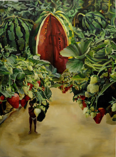 Patches of Red and Green, by Clarissa Touche, oil, 24x36 inches